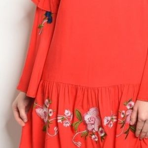 Dresses - Red Long bell sleeve floral embroidery tunic Dress